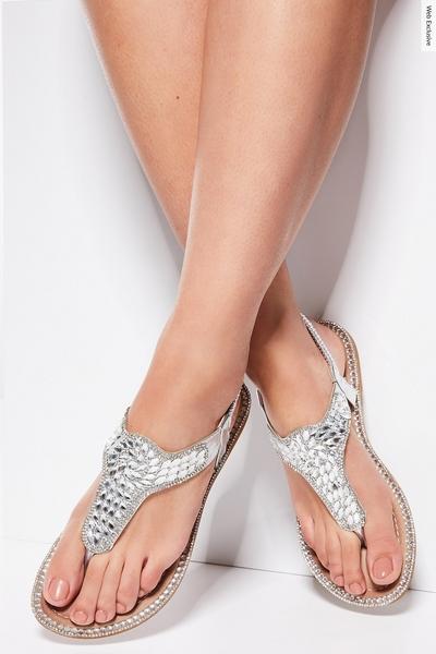 Silver Jewel Flat Sandals